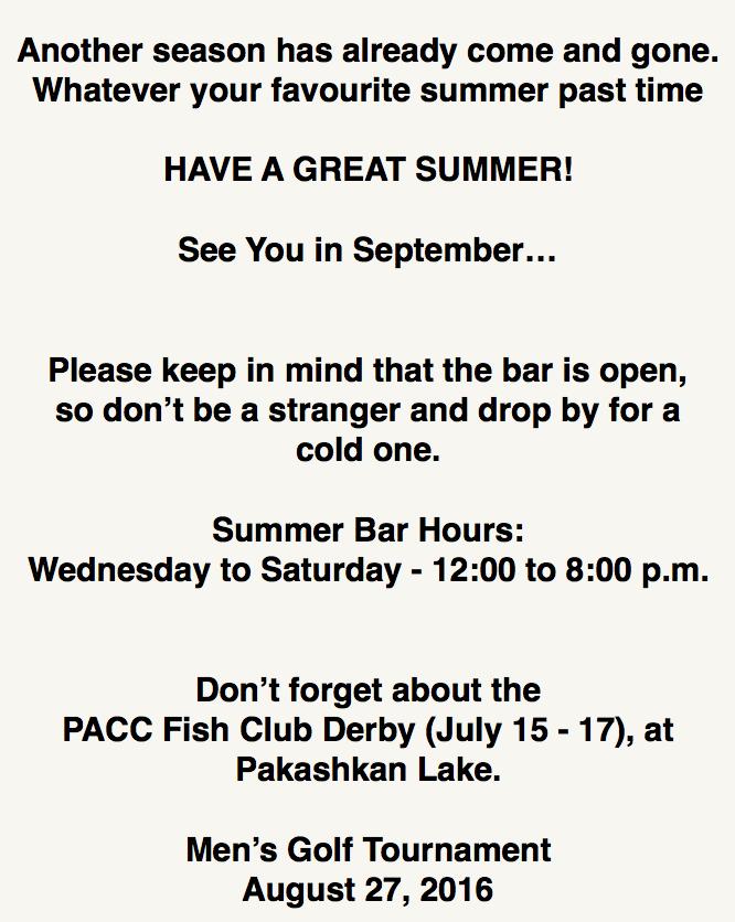 Summer message 2016